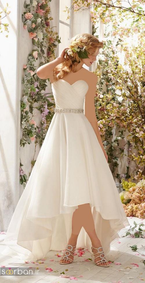 لباس عروس دکلته جلو کوتاه پشت بلند شیک با کمربند نگین دار