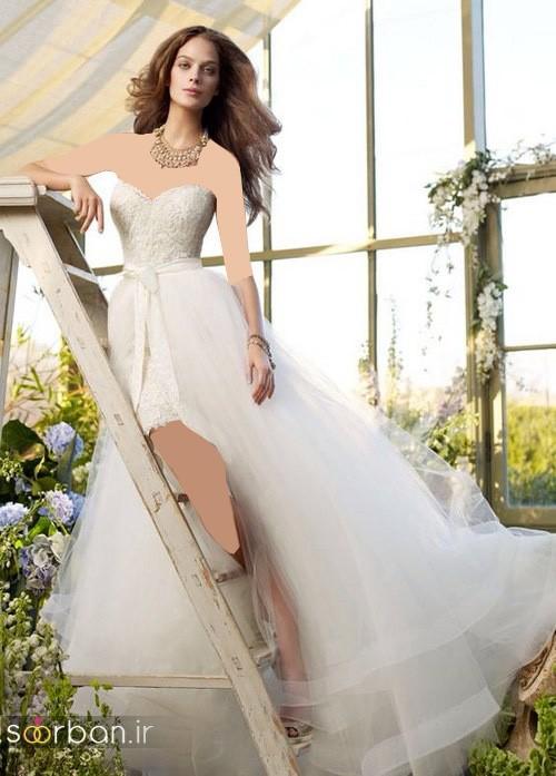 لباس عروس جلو کوتاه پشت بلند دکلته با دامن تور