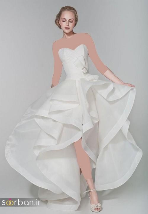 لباس عروس جلو کوتاه پشت بلند 2017 دکلته زیبا