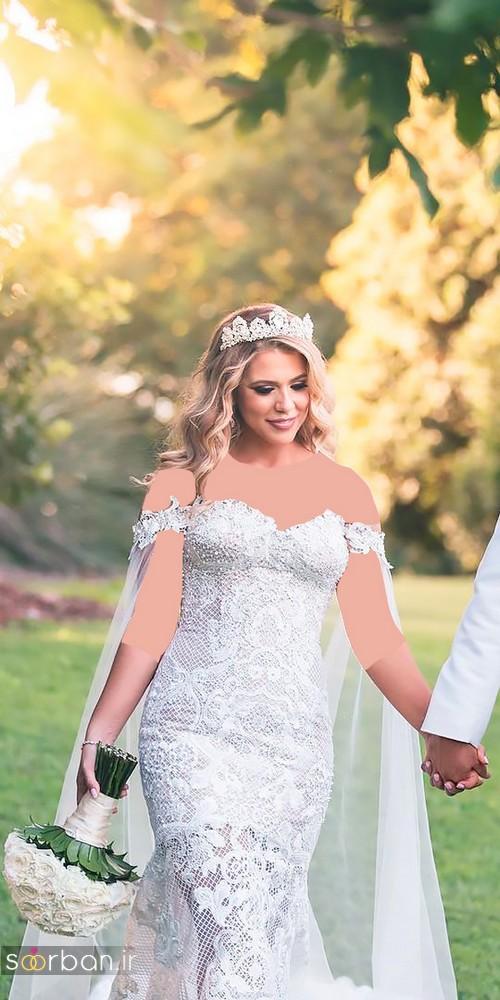 مدل لباس عروس سایز بزرگ 2017 با تور دانتل