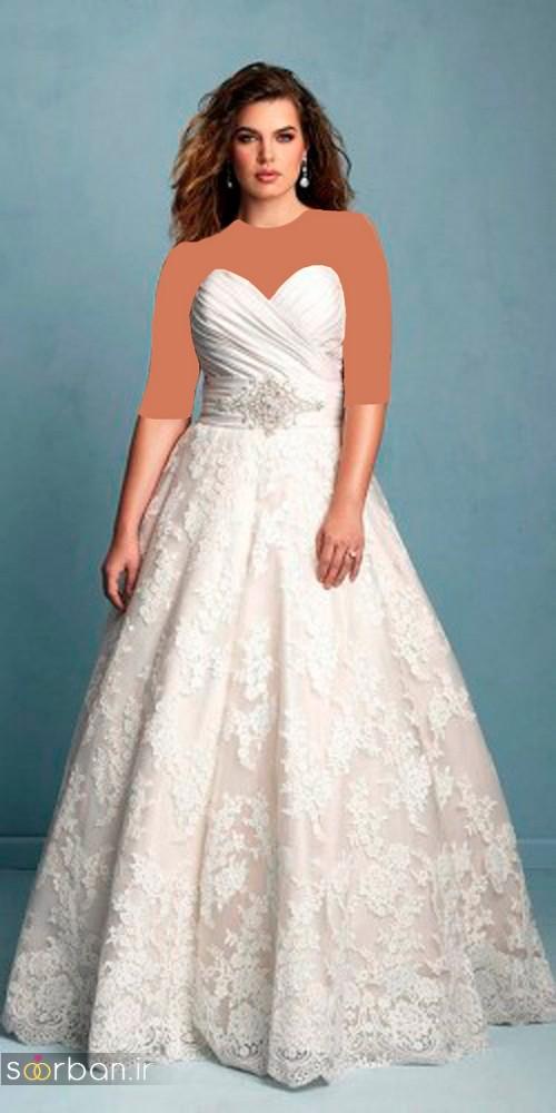 مدل لباس عروس دکلته با تور دانتل سایز بزرگ 2017 برای عروس های درشت اندام و تپل