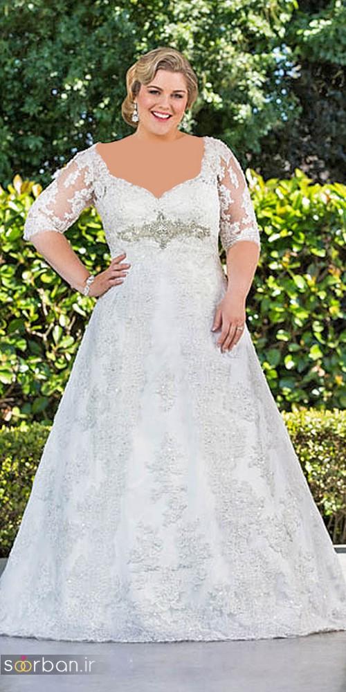 مدل لباس عروس آستین دار سایز بزرگ 2017 برای عروس های درشت اندام و تپل
