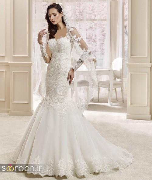 لباس عروس ترک 2017 با تور دانتل