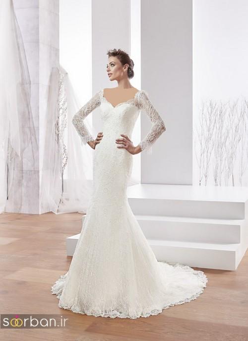 لباس عروس ترک 2017 آستین بلند