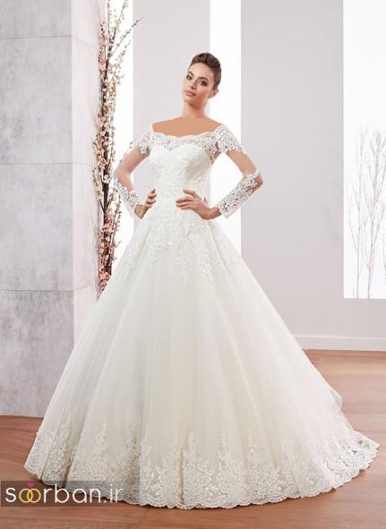 لباس عروس ترک 2017 آستین دار