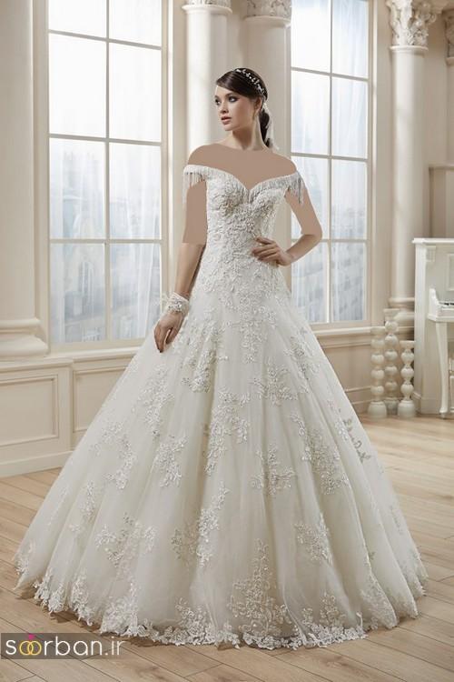 لباس عروس ترک 2017 یقه دلبر چین دار
