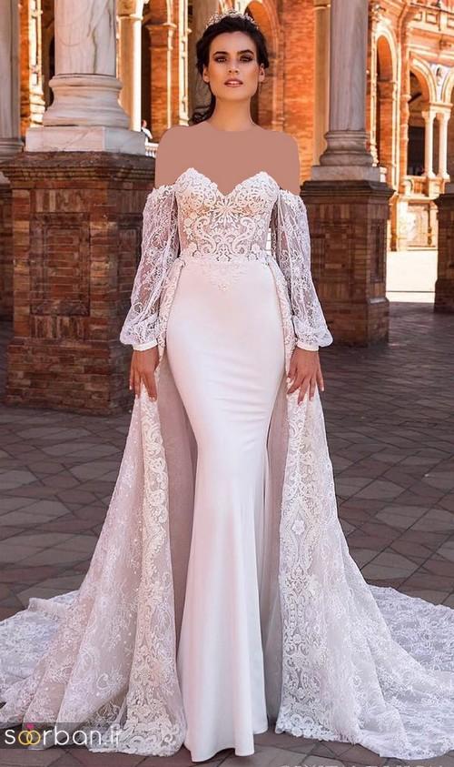 لباس عروس شانه باز رمانتیک جدید-5