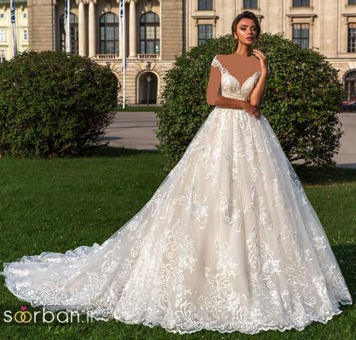 لباس عروس شانه باز رمانتیک جدید-8