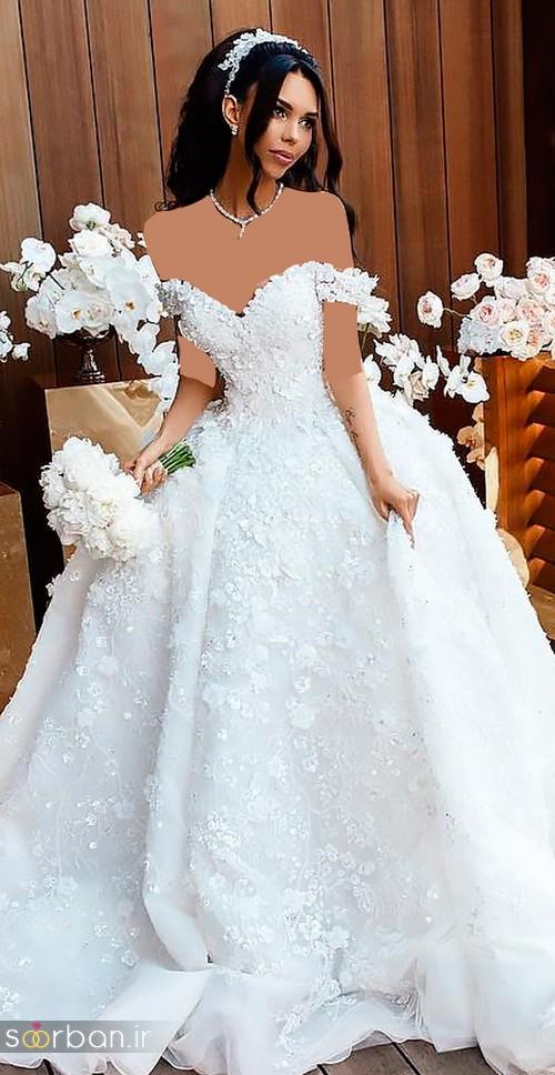 لباس عروس جدید شانه افتاده رمانتیک و زیبا