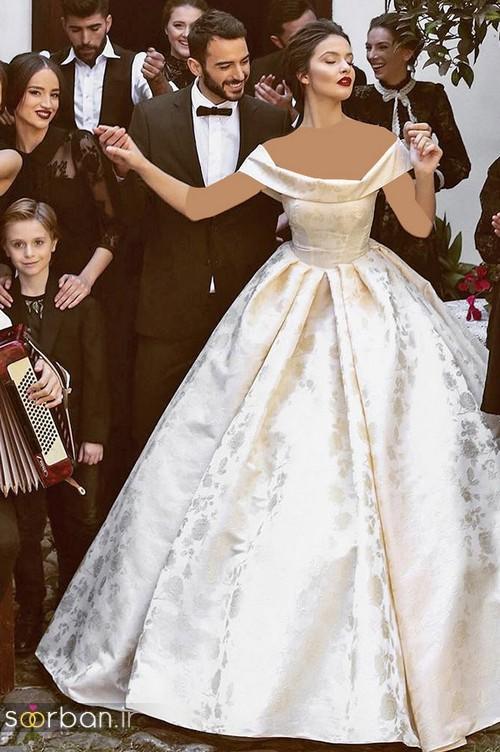 لباس عروس شانه باز رمانتیک جدید-13