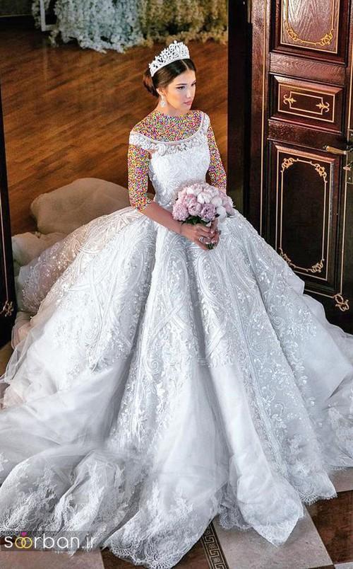 مدل لباس عروسی پرنسسی جدید شیک و زیبا با تور دانتل