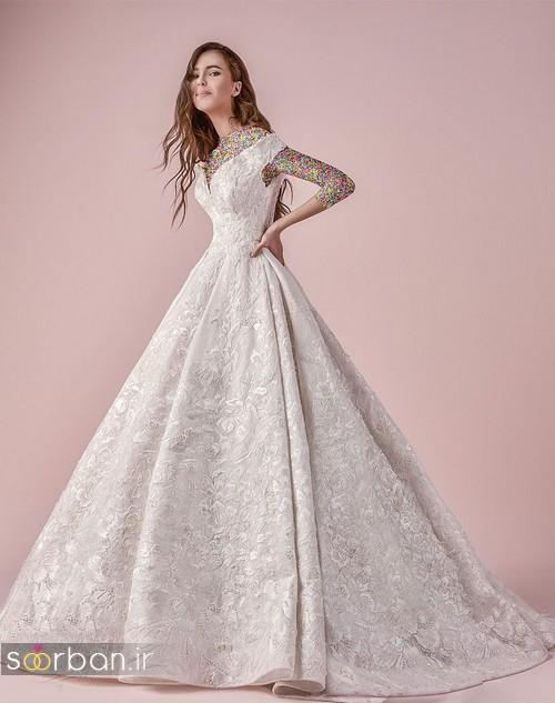 مدل لباس عروسی پرنسسیمدل لباس عروسی پرنسسی جدید شیک و جدید یقه باز