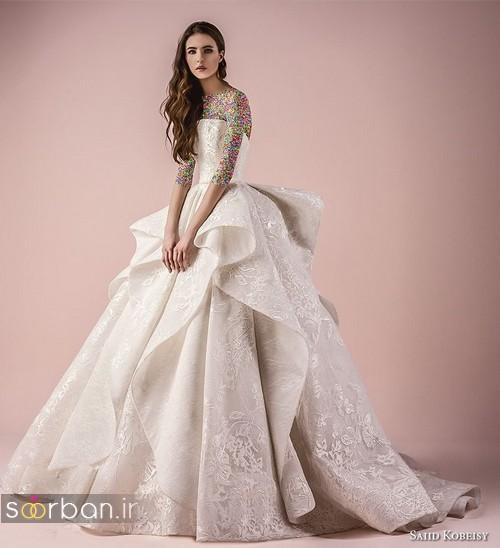 مدل مدل لباس عروسی  جدید با دامن چین دار پفی
