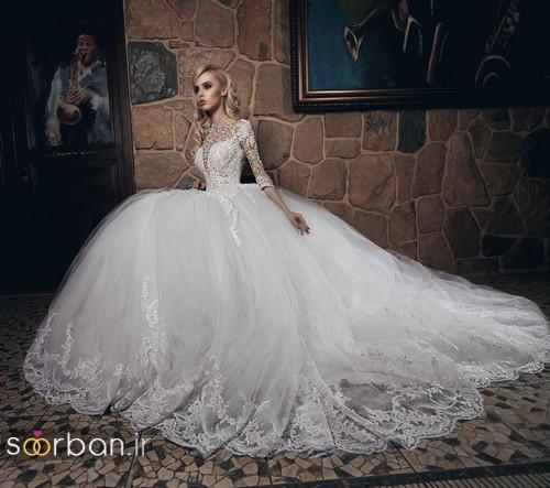 مدل لباس عروسی پرنسسی جدید آستین دار با تور دانتل و شیک و زیبا