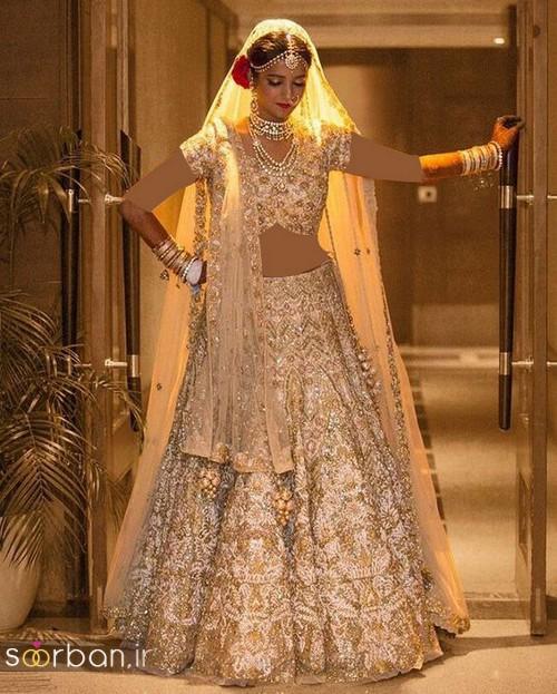 لباس عروس هندی بلند زیبا 2018- لباس عروس هندی بلند چین دار با تور