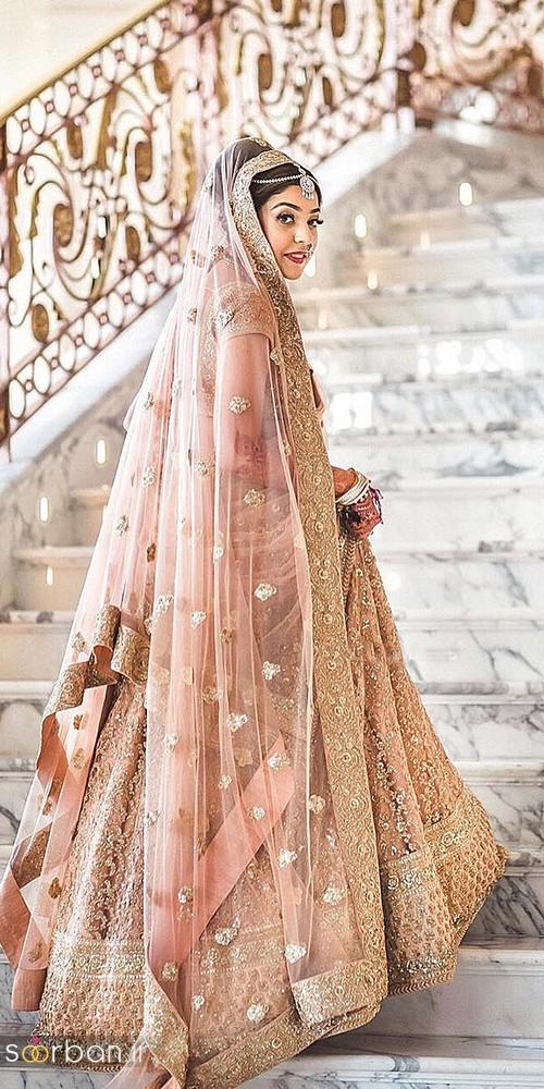 مدل لباس عروس هندی صورتی و طلایی