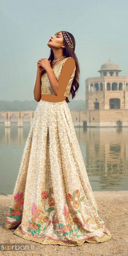 لباس عروس هندی مجلسی بلند 2018