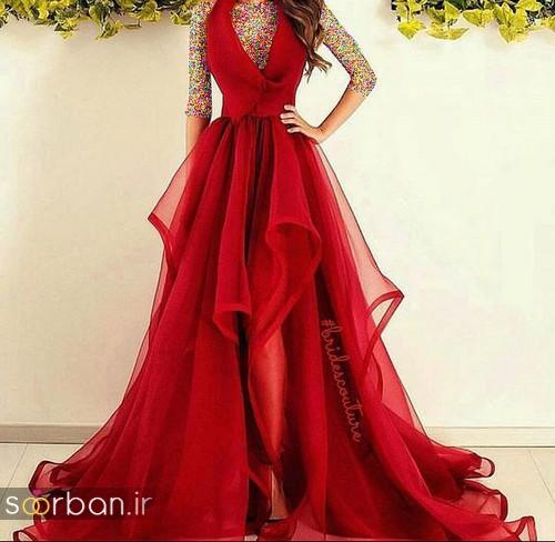 لباس حنابندان، عقد و نامزدی قرمز بلند زنانه 2018 جدید-