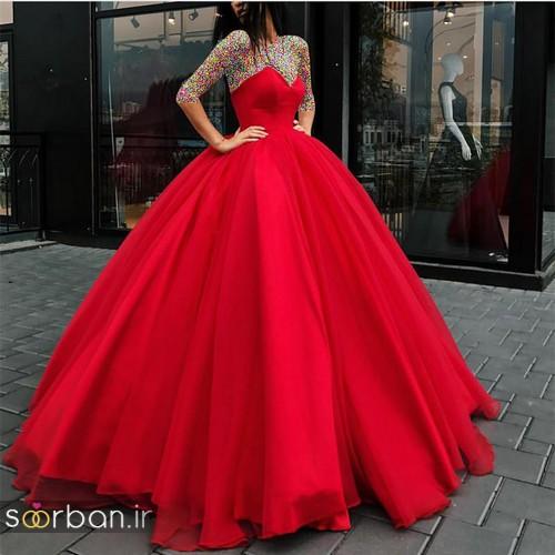 عکس لباس حنابندان، عقد و نامزدی قرمز بلند جدید