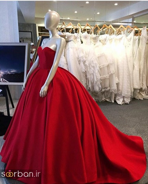لباس حنابندان، عقد و نامزدی قرمز بلند زنانه 2018 جدید