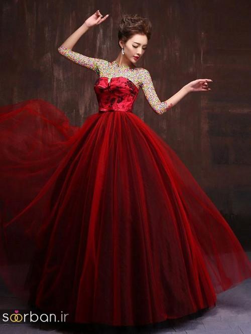 لباس حنابندان، عقد و نامزدی قرمز بلند زیبا 2018- لباس حنابندان، عقد و نامزدی قرمز بلند چین دار با تور