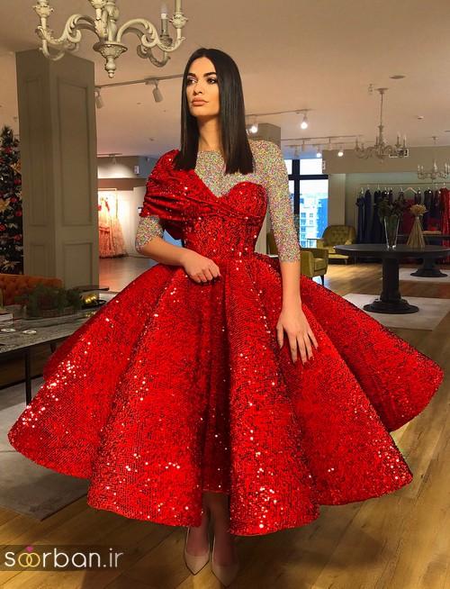 مدل لباس حنابندان، عقد و نامزدی قرمز مجلسی بلند شیک و جدید