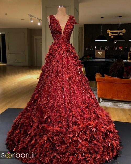 لباس حنابندان، عقد و نامزدی قرمز مجلسی بلند 2018