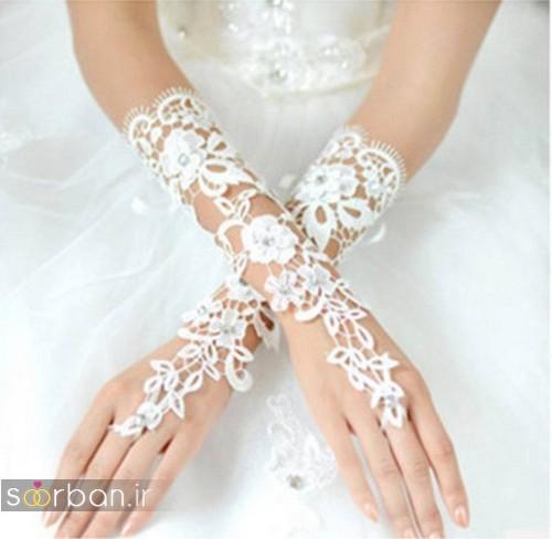 دستکش عروس جدید با تور دانتل بسیار زیبا