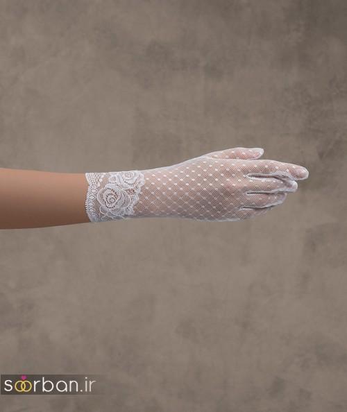 دستکش عروس جدید کامل پوشیده با تور دانتل