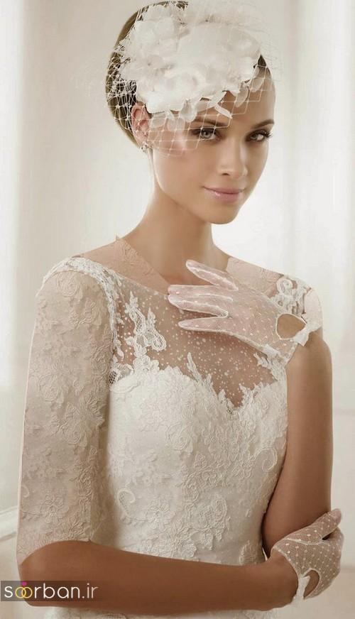 دستکش عروس جدید کوتاه با تور دانتل