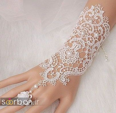 دستکش عروس جدید با تور دانتل 2017