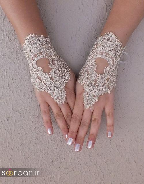 عکس دستکش عروس جدید با تور دانتل