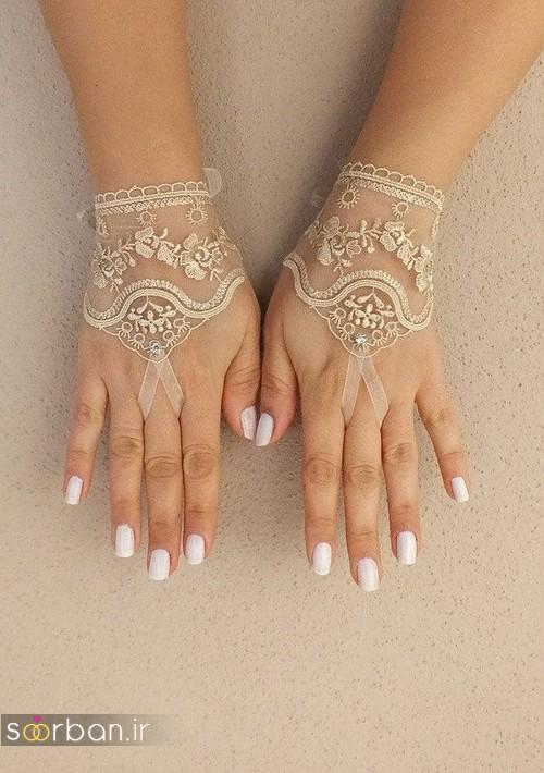 دستکش عروس جدید با تور دانتل 2017 و نگین