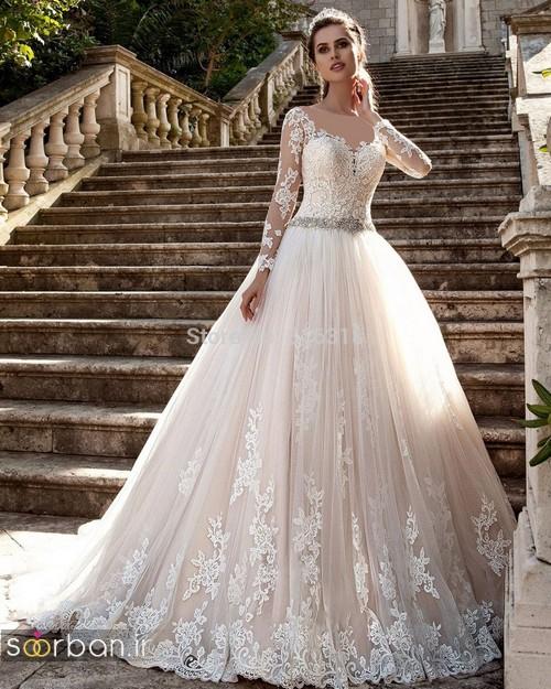 مدل لباس عروس آستین دار 2018 پفی با کمربند