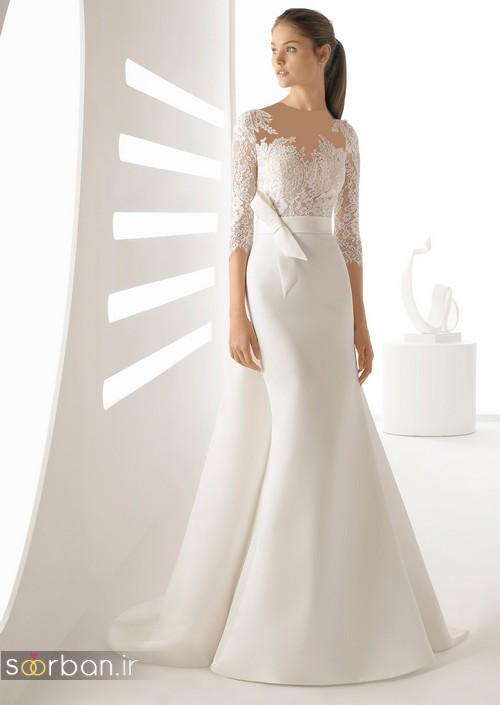 مدل لباس عروس آستین دار 2018 با کمربند