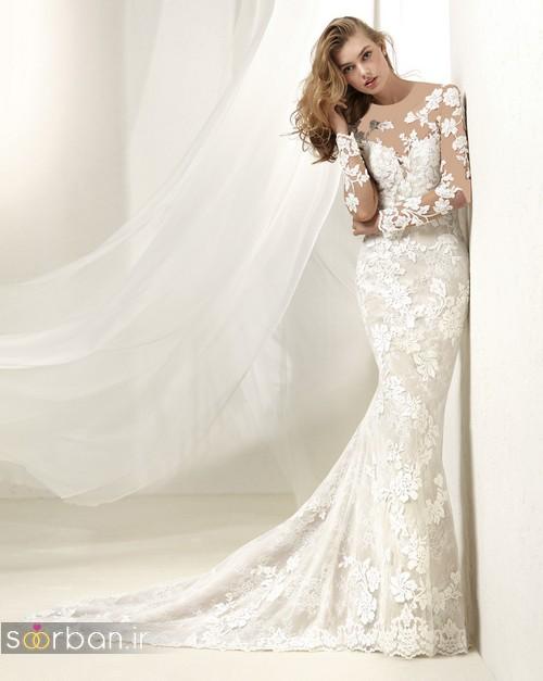 مدل لباس عروس آستین دار 2018تمام تور