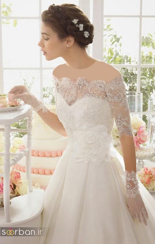 مدل لباس عروس آستین دار 2018 با دستکش