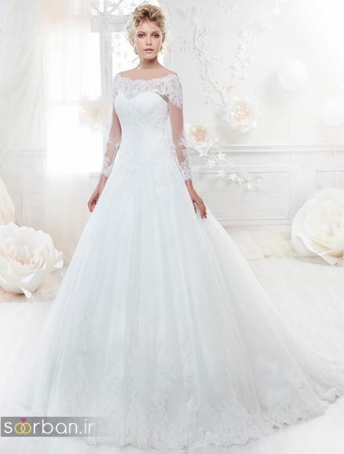 مدل لباس عروس آستین دار 2018
