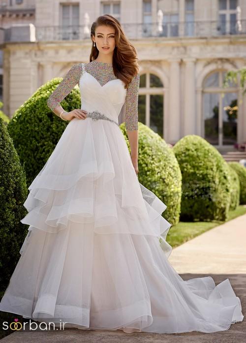محبوبترین لباس عروس 2018 آستین سه ربع1