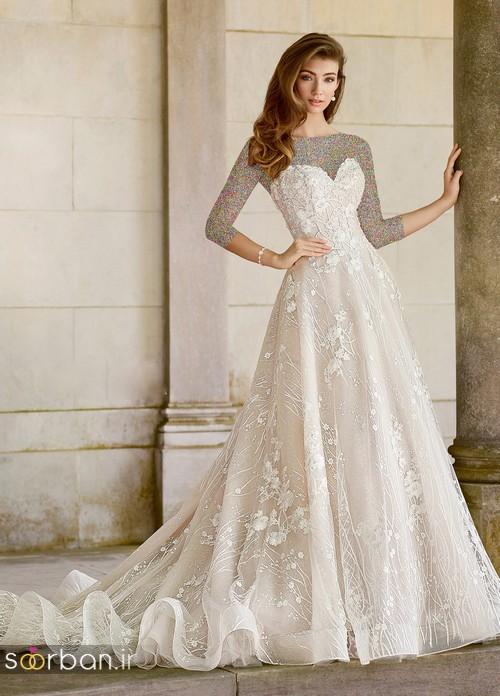 محبوبترین لباس عروس 2018 آستین سه ربع5