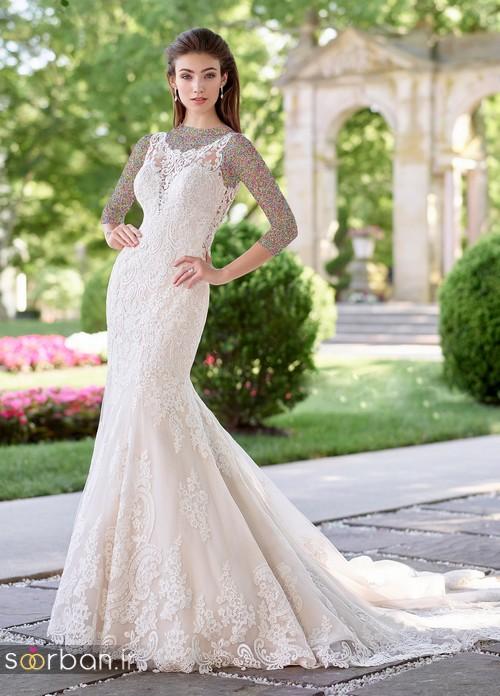محبوبترین لباس عروس 2018 آستین سه ربع8