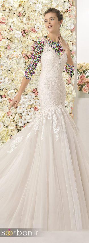 محبوبترین لباس عروس 2018 آستین سه ربع9