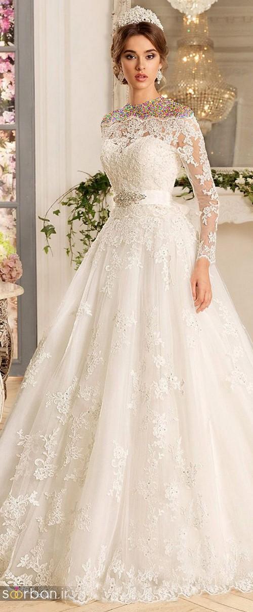 محبوبترین لباس عروس 2018 آستین سه ربع11