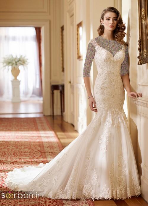 محبوبترین لباس عروس 2018 آستین سه ربع با کمربند پاپیون