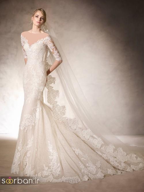 لباس عروس با تور دانتل شیک و زیبا