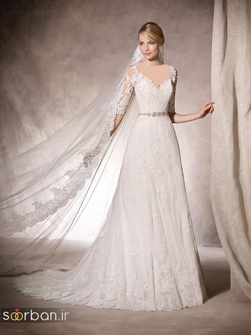 لباس عروس با تور دانتل بالا سر