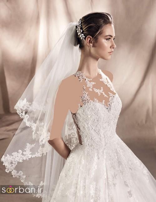 لباس عروس با تور کوتاه