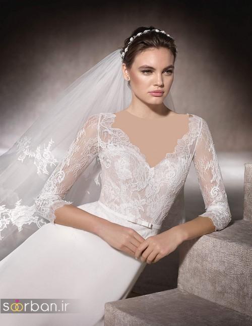 لباس عروس با تور دانتل شیک 2017
