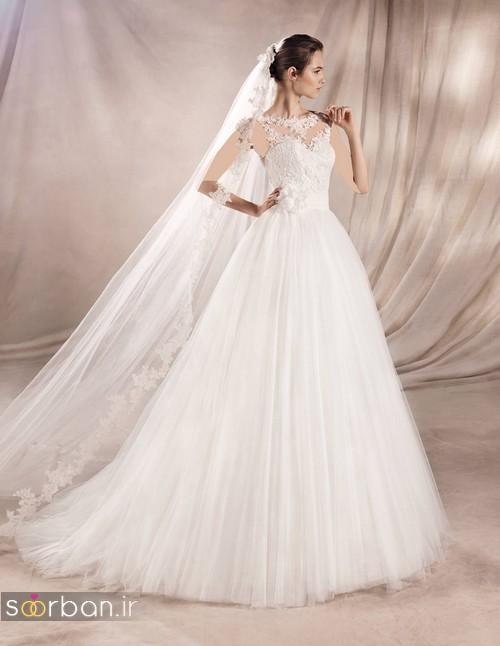 لباس عروس با تور بلند بالای سر جدید