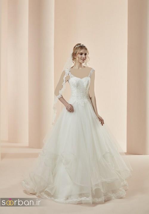 لباس عروس با تور دانتل 8